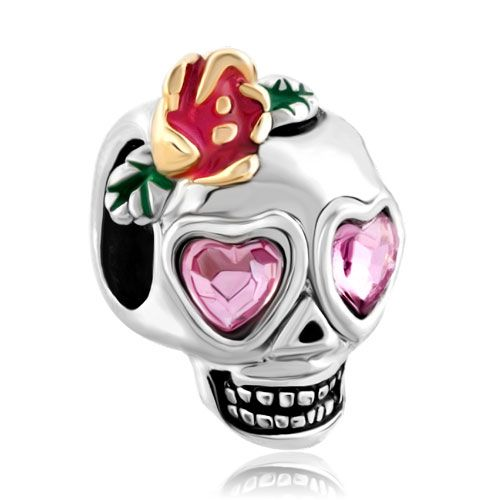 Charms Beads - rose pink swarovski crystal eyes skull with open flower fit all brands two tone plated beads charms bracelets Image.
