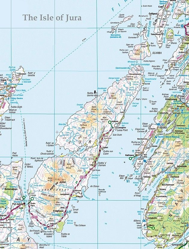 Isle of Jura Scotland Map. My grandfather, John McCarter (MacArthur) died on Jura.