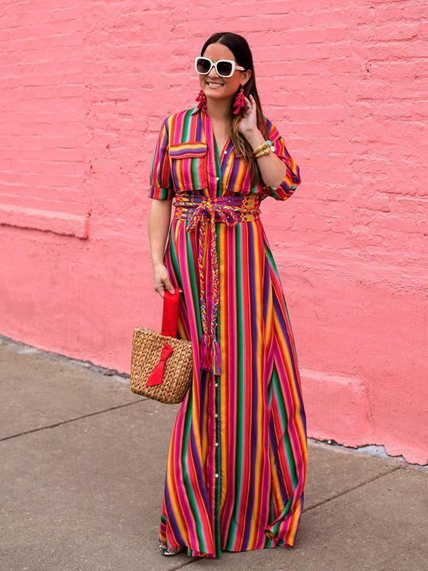 6c6ecfc39bf20 Bohemia Striped Shirt Maxi Dress in 2019   Dresses   Maxi dress with ...