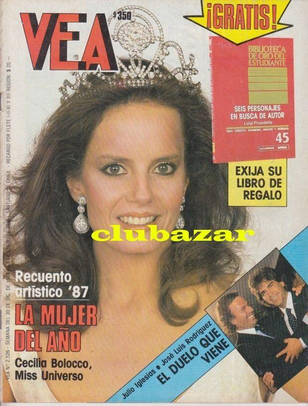 Portada de la revista Vea con Cecilia Bolocco, diciembre de 1987