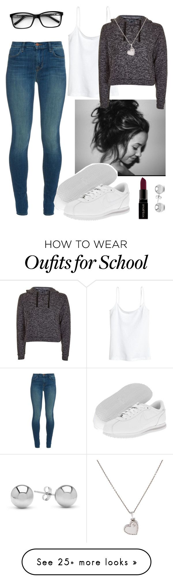 """Saturday school"" by genova-was-here on Polyvore featuring J Brand, NIKE, H&M, Topshop, Louis Vuitton, Smashbox and Jewelonfire"