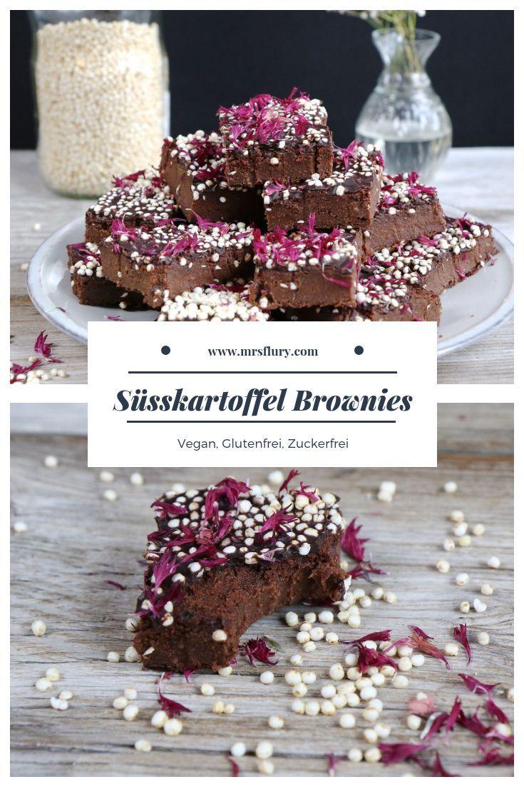 Gesunde Süßkartoffel Brownies vegan glutenfrei