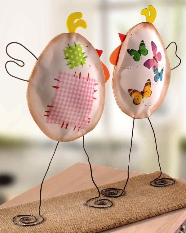 Gallinas decorativas handmade.   Moosgummi Hühner zum selber basteln