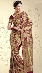 maroon and gold saree