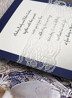 navy blue wedding invitations with lace wrap
