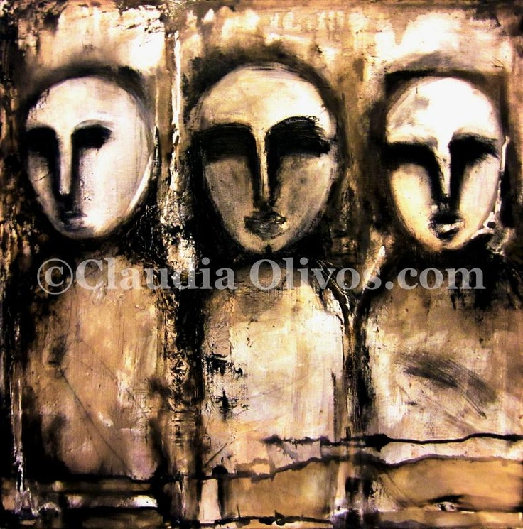 Our Ancestors, our tribe. Mapuche-Paintings-on-Canvas by Claudia Olivos.  Oil paint on collage on canvas... our Ancestors.  Much of the Mapuche work on wood for ancestors is like that of Chile's Easter Island... wonder and wander about... the internet finding out about them and you may find meanings and messages that are well... from worlds beyond....
