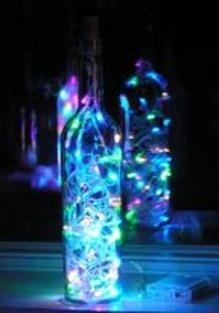 Lit up liquor bottle