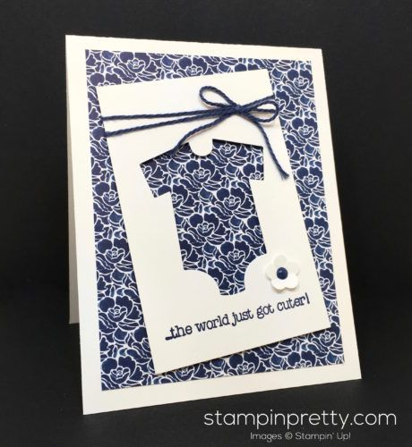 Made with Love stamp set & Baby's First Framelits Dies baby girl card created by Mary Fish, Stampin' Up! Demonstrator.  1000+ StampinUp & SUO card ideas.  Read more http://stampinpretty.com/2016/08/baby-card-for-the-cut-it-out-blog-hop.html