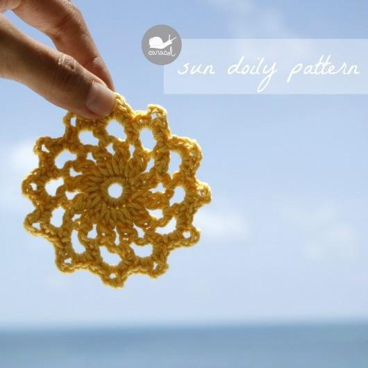 Caracol handmade: Sun doily apliqué - free pattern