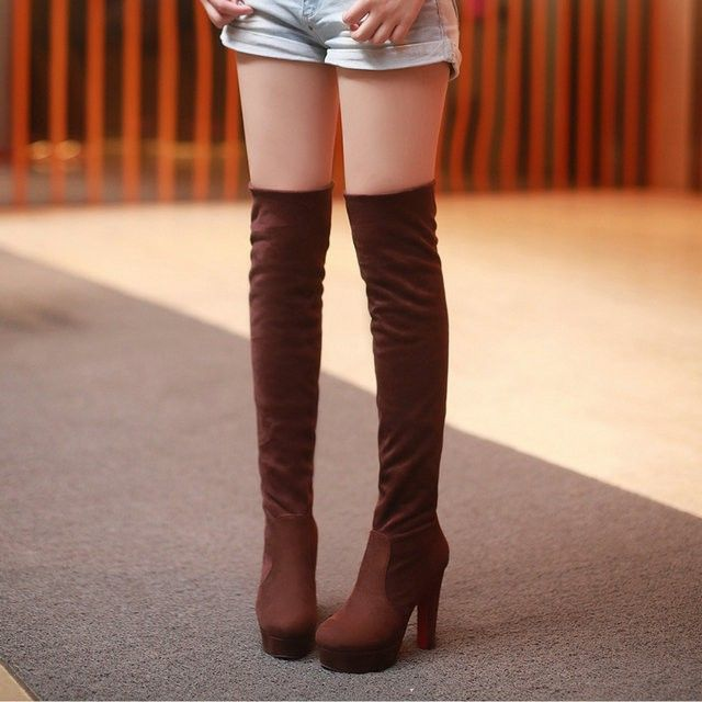DropShip Black Brown Leopard Platform Square Suede High Heels Boots Women Over The Knee Thigh High Boots - http://buy-guide.info/products/dropship-black-brown-leopard-platform-square-suede-high-heels-boots-women-over-the-knee-thigh-high-boots/