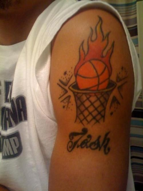 fire basketball tattoo images galleries with a bite. Black Bedroom Furniture Sets. Home Design Ideas