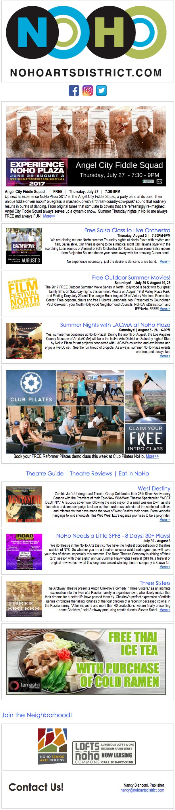 NoHo News:  It's Summer in NoHo. Fiddle Squad. 25 Years of Zombie. Salsa Class w/ Orchestra. Movies in the Park. Free Stuff. Theatre