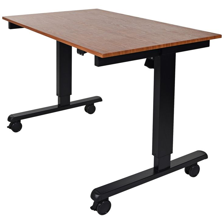 Upas Black and Teak Small Electric Standing Desk - Style # 33X19