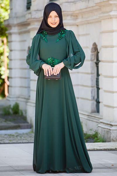 df2becfe5c2cb Omuzlari Beli Dantel Detayli Şifon Tesettür Abiye Elbise-Sedanur Collection