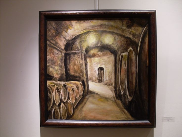 """Wine Cellar, Italy"" charcoal and acrylic on board by SD Baptista"