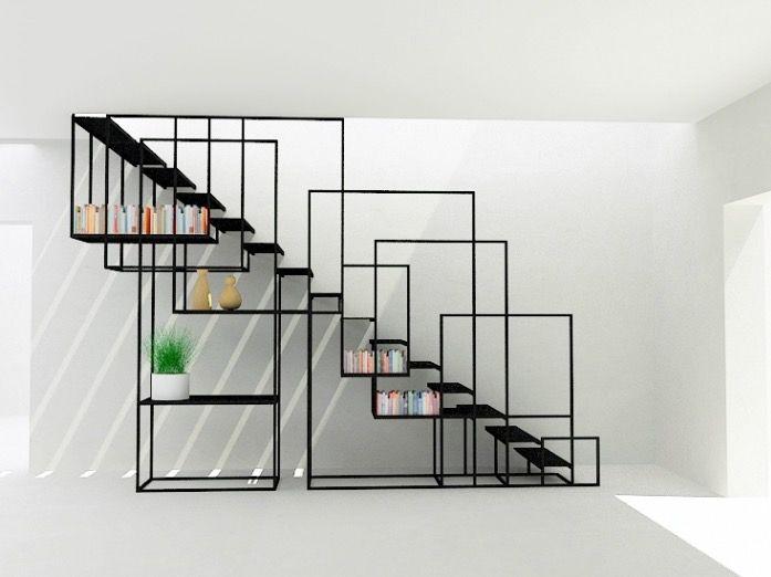 Après une belle installation centrale présentée hier voici un bel escalier design en métal avec un astucieux système de rangement qui fait aussi office de rambarde... C