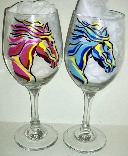 """༻⚜༺ ❤️ ༻⚜༺ HAND PAINTED COWGIRL STYLE """"WINE TIME"""" Multi Color Horse Head Western Wine Glass 