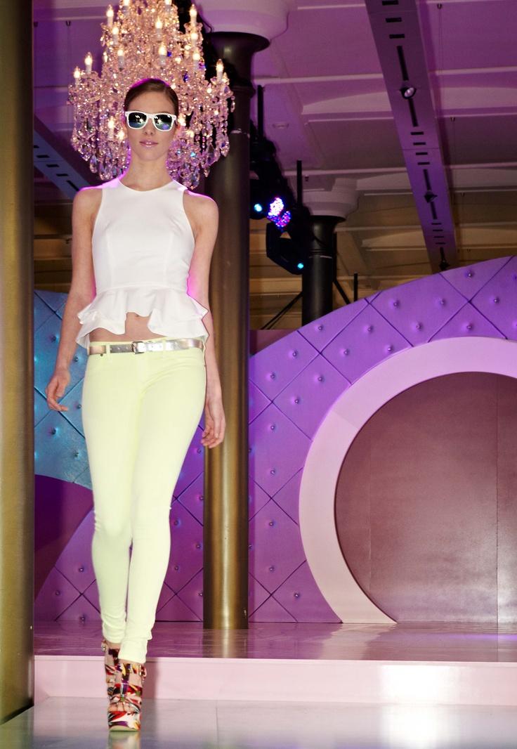 Pretty peplum & neon from Bardot @ 30 days of Fashion & Beauty