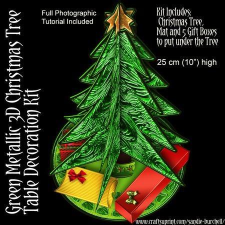 "Green Metallic 10"" 3D Christmas Tree Kit | Card Making | Pinterest"