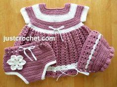 Free PDF baby crochet pattern for dress, knickers & bonnet http://www.justcrochet.com/dress-knickers-bonnet-usa.html #justcrochet: