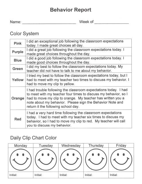 Daily Behavior Report to use with clip chart