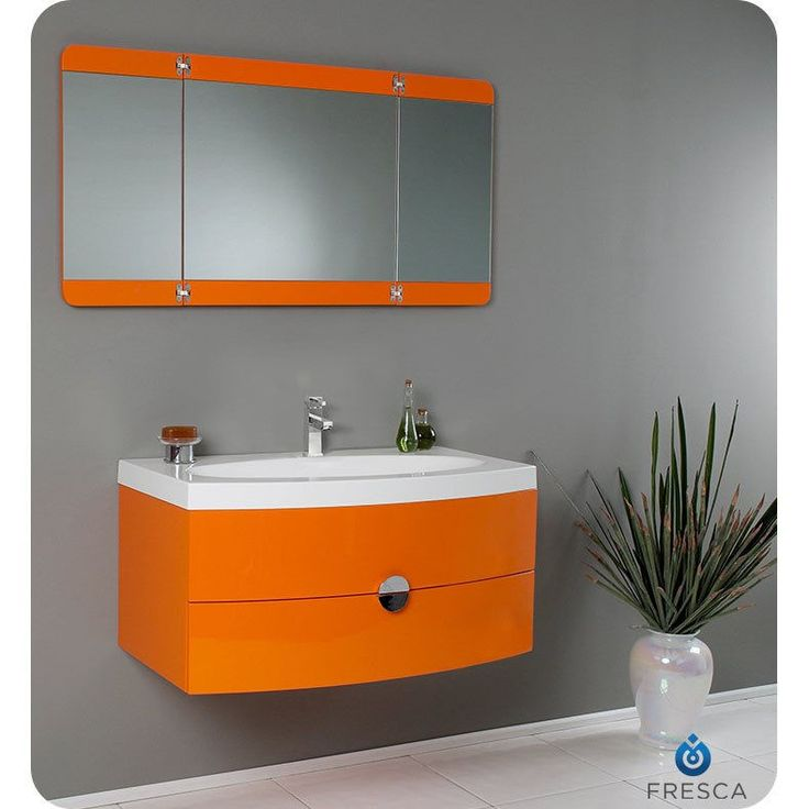 Fresca Energia Orange Modern Bathroom Vanity w/ Three Panel Folding Mirror