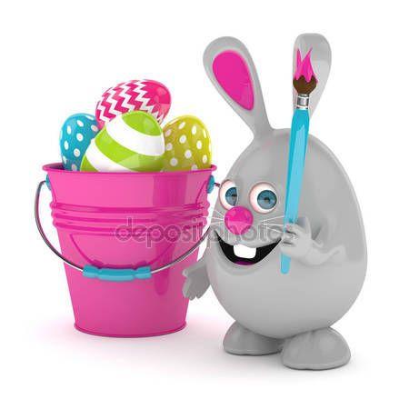 Renderowania 3D Easter Bunny z jaj i wiadro — Zdjęcie stockowe © ayo888 #146445755