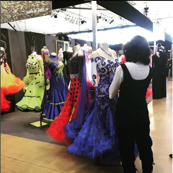 UK OPEN: Ballroom Rising Stars - some glamorous ballroom dresses up for sale at the #BIC  exhibition