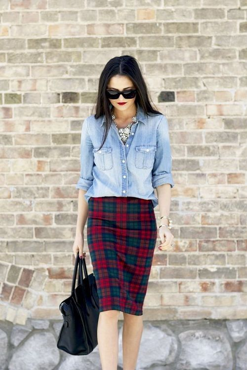 Shop this look for $62:  http://lookastic.com/women/looks/light-blue-denim-shirt-and-red-pencil-skirt/924  — Light Blue Denim Shirt  — Red Plaid Pencil Skirt  — Black Leather Tote Bag