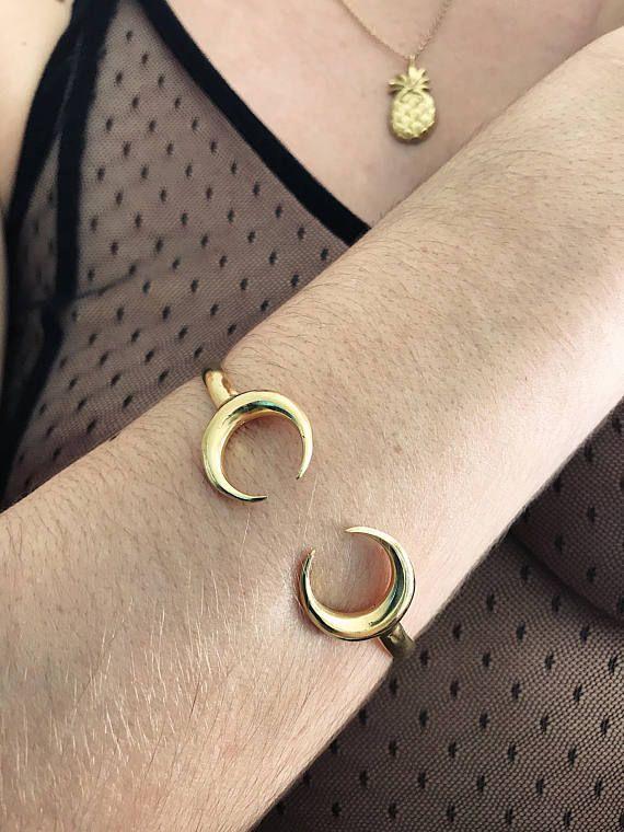 Gold bracelet,gold moon bracelet cuff,silver moon bracelet,crescent moon bracelet,tusk bracelet,double horn bracelet,chiara ferragni,boho