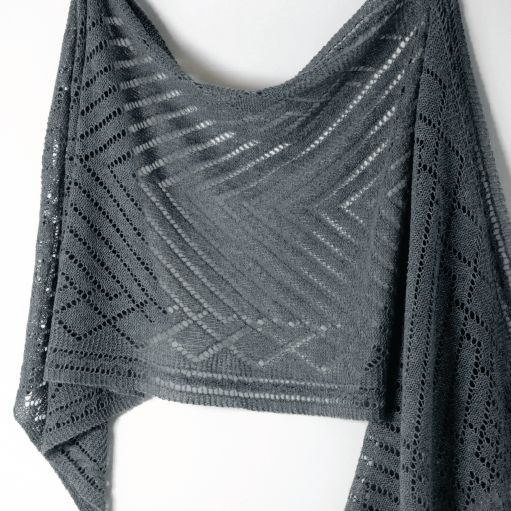 Lorelei Rectangular Shawl in Graphite with Shibui Pebble Knit Purl