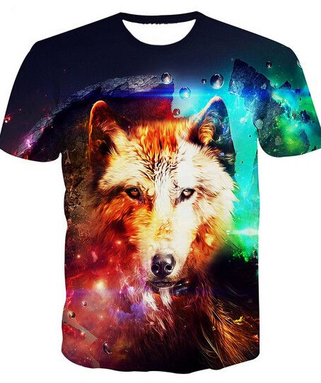 Spirit Wolf Four Elements T-shirt  Spirit animal wolf with four elements background all over 3D printing