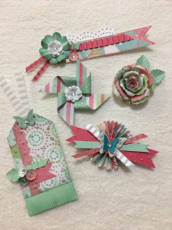Homemade Embellishment Kit...5 Piece Set of Very Sweet and