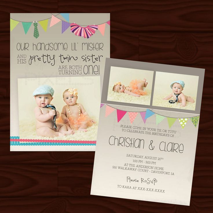 Twins Tutu and Bow-Tie Invite- Digital File by popcornandpixels on Etsy