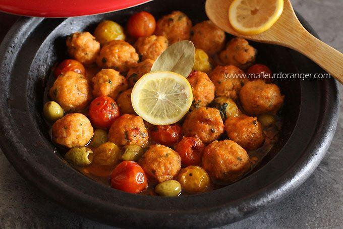 Tajine de boulettes de poisson au poivron et tomates cerises - Ma fleur d'oranger
