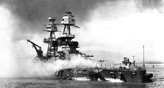 The Battleship USS Nevada on fire during the Japanese attack on Pearl Harbor, December 7th, 1941