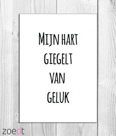 Mijn hart giegelt van geluk - #Card - #Quote - Buy it at www.vanmariel.nl - Card € 1,95
