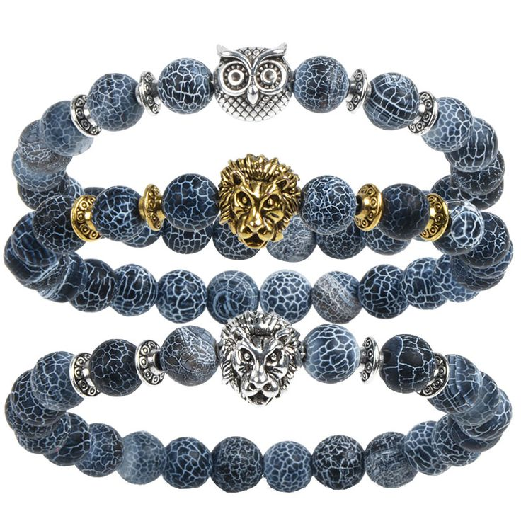 Leopard, Lion Head and Owl Bracelets