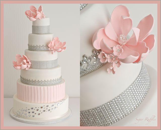 Sugar Ruffles, Elegant Wedding Cakes. Barrow in Furness and the Lake District, Cumbria: Sparkly Wedding Cake