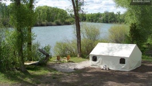 Snake river eco lodge on the idaho wyoming border is a for Wall tent idaho
