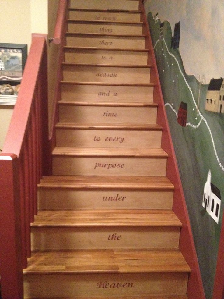 Our Stenciled Stairs And Hand Painted Wall My Primitive