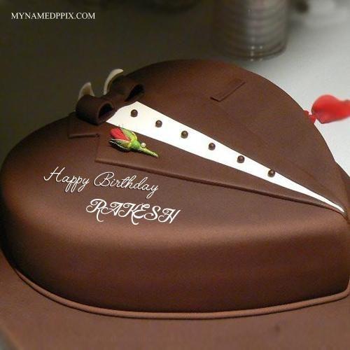 Write Husband Name Chocolate Heart Look Birthday Cake Rakesh