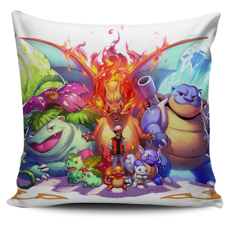 Pokemon Venusaur Charizard Blastoise Pillow Cover