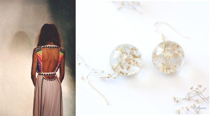Boho dress and real flower earrings #boho #dress #flower #earrings