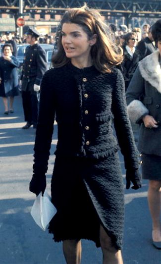 Jackie Kennedy Onassis wearing Chanel while walking in New York City, 1970
