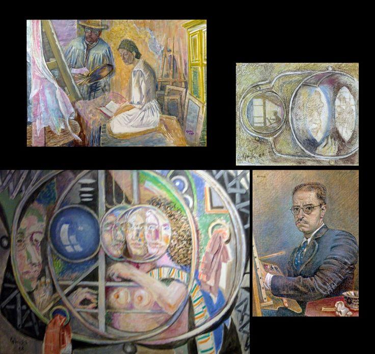 Πάνω αριστ., Ο καλλιτέχνης και η γυναίκα του, 1990, Μουσείο Μπενάκη - Πινακοθήκη Γκίκα. Βλ. Αγγελιοφόρος. Πάνω δεξ., Αυτοπροσωπογραφία ανακλώμενη σε καθρέφτη. Βλ. MuseumPlus. Κάτω αριστ., Αντανακλάσεις καθρεφτών, 1988. Βλ. alterapars. Κάτω δεξ., Αυτοπροσωπογραφία,1942. Πηγή: www.lifo.grΑφιέρωμα στο Νίκο Χατζηκυριάκο-Γκίκα. | ΣΑΝ ΣΗΜΕΡΑ | PLUS | Θέματα | LiFO