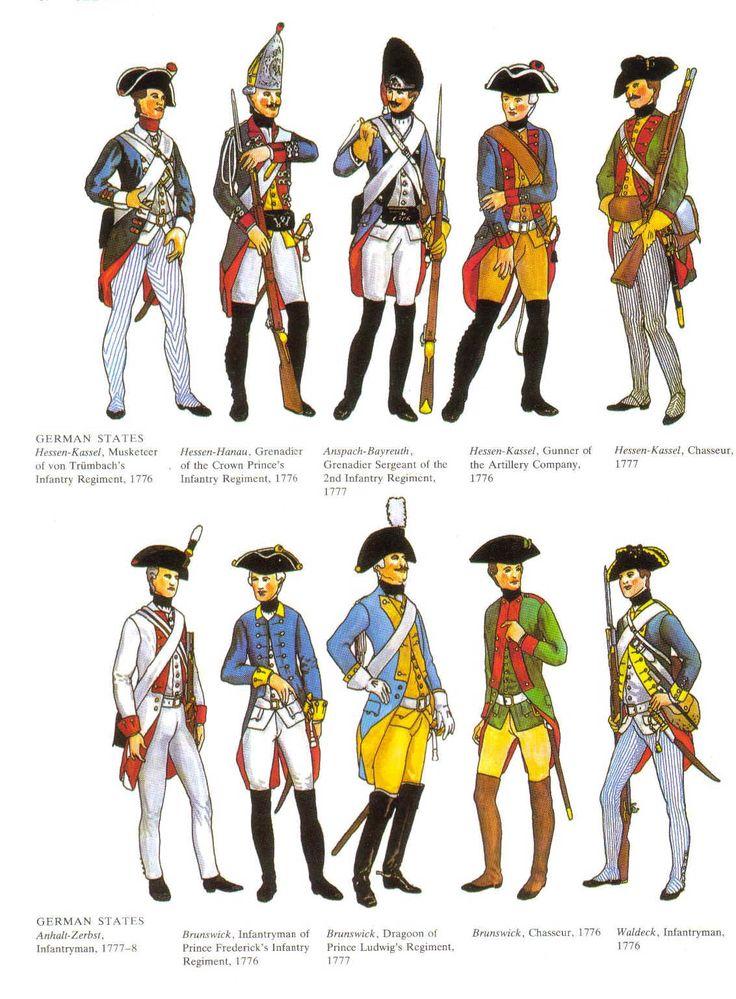 Uniforms of the German mercenaries, AWI.