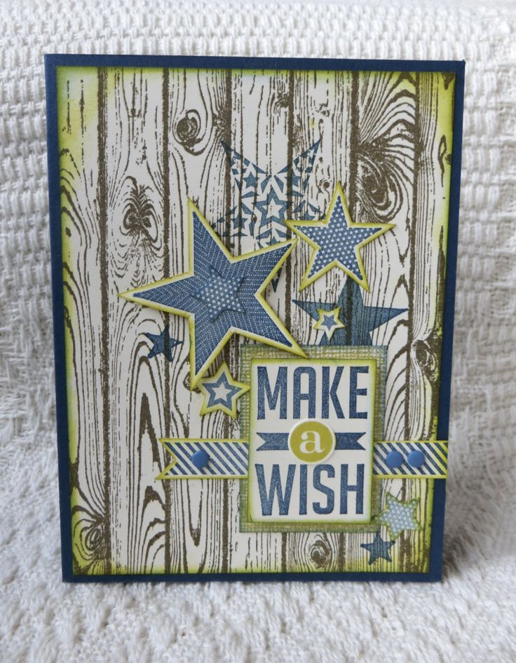 Stampin' Up! Maculine card: Hardwood, Perfect Pennants & Simply Stars stamps