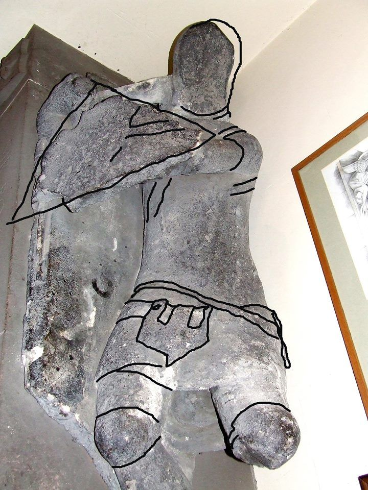 Roger de Hilary effigy Lines made to aid reconstruction. 1399 from his effigy in St Matthew's Church, Walsall. West Midlands.