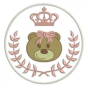 ursinho com ramo coroa e laço
